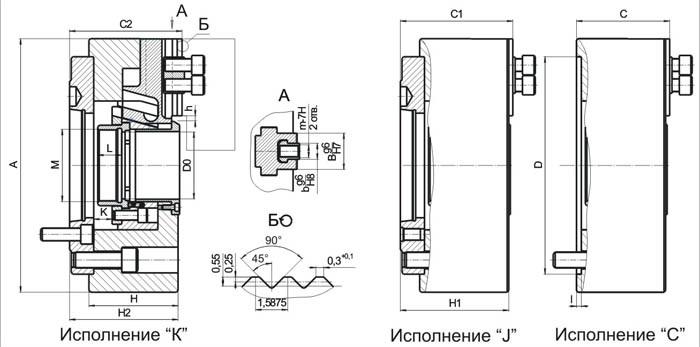 Патрон трехкулачковый клиновой механизированный полый ПП-315.*.*