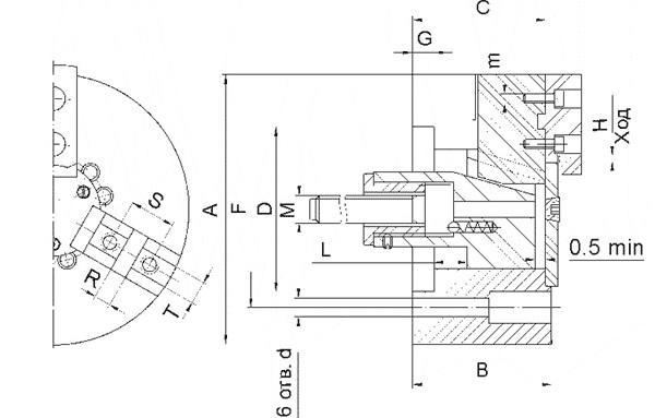 Патрон токарный трехкулачковый клиновой для токарных станков-автоматов. ПКСА – 125 С100